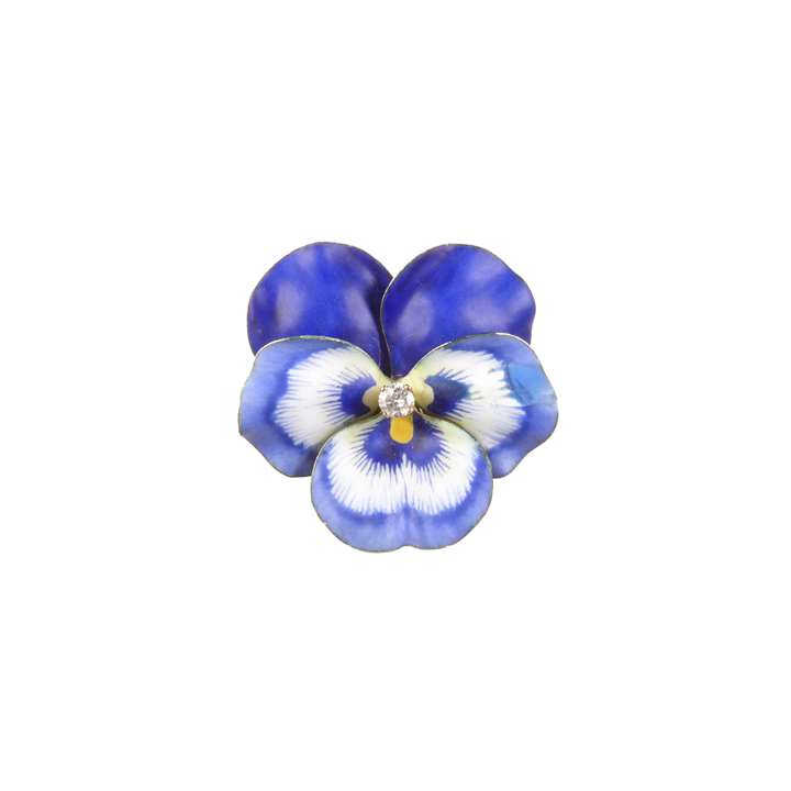 Antique blue enamel and diamond pansy brooch
